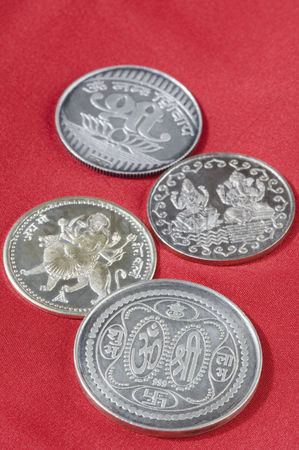 God : Close-up of silver coins