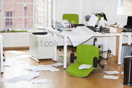 Furniture : Close-up view of ransacked office