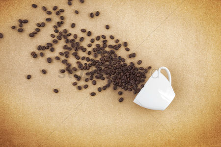 Flat : Coffee beans and a cup concept