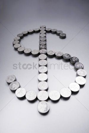 Dollar sign : Coins making a dollar sign
