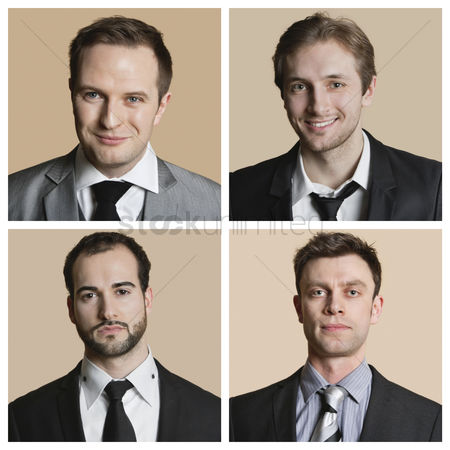 Office worker : Collage of confident businessmen over colored background