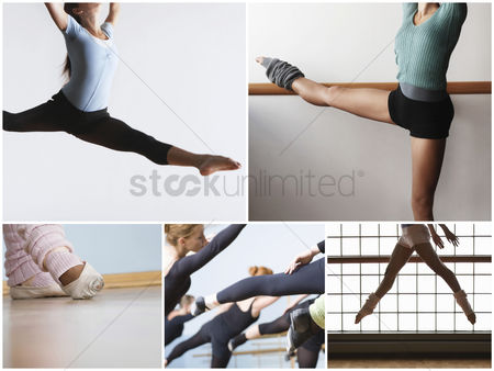 Dance : Collage of fit women practicing ballet dance