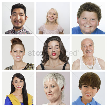 Sets : Collage of multiethnic people