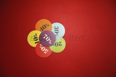 Shopping background : Colorful price tags on red background
