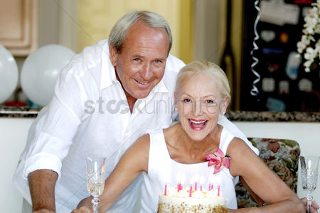 Mature : Couple celebrating birthday