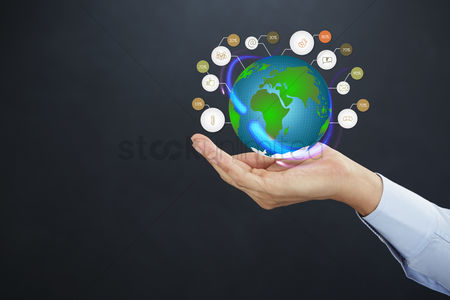 Earth  graphic vector : Cupped hand presenting globe with infographic elements