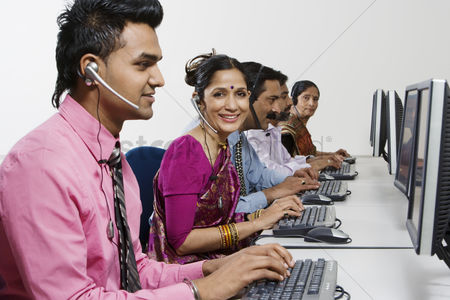 Senior women : Customer service reps in call center