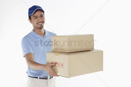 Masculinity : Delivery person handing out cardboard boxes