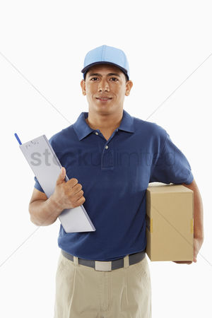 Masculinity : Delivery person holding a cardboard box and a clipboard