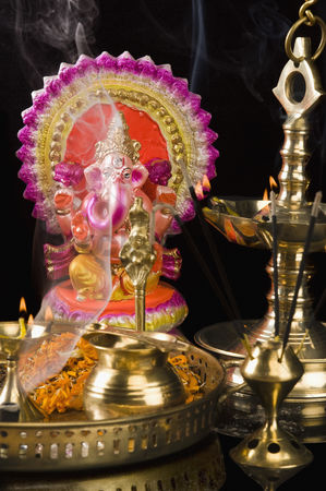 God : Diwali thali in front of an idol of lord ganesha