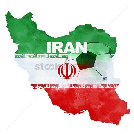 Iran : Double exposure of soccer ball and iran map