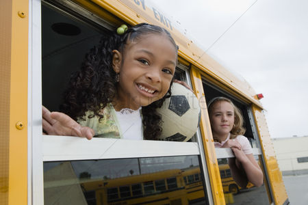 Posed : Elementary students on school bus