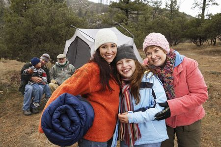 Senior women : Family with children  7-12  camping  portrait