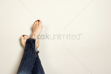 Lady : Feet with beautifully painted toenails