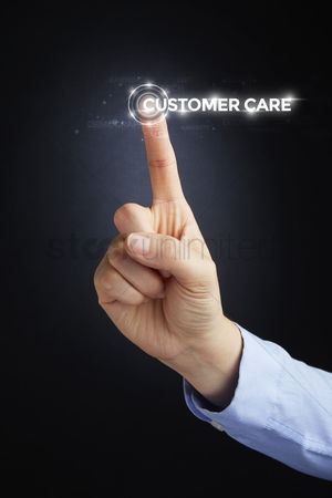 Show : Finger pointing at digital text customer care