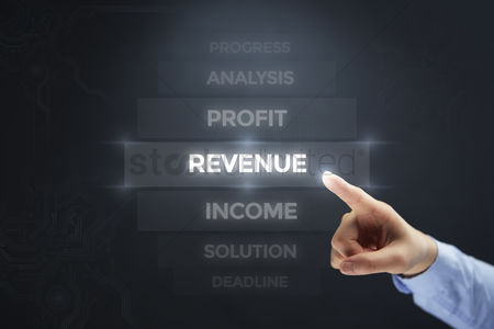 Show : Finger pointing at digital text revenue