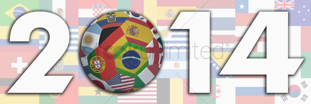 Hexagon : Flags with 2014 text