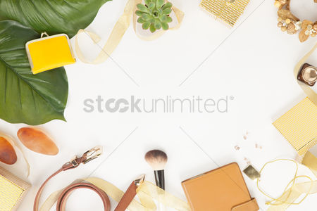 Accessories : Flatlay of white background with makeup and accessories