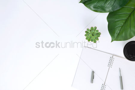 Blank : Flatlay with leaves and notebook