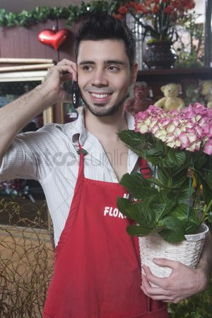 Houseplant : Florist stands on mobile phone with  hydrangea
