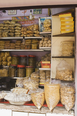 Collection : Food products for sale at a market stall  delhi  india