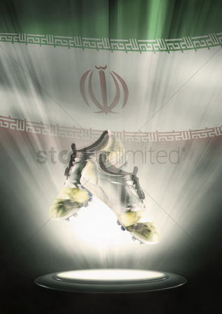 Nationality : Football cleats with iran flag backdrop