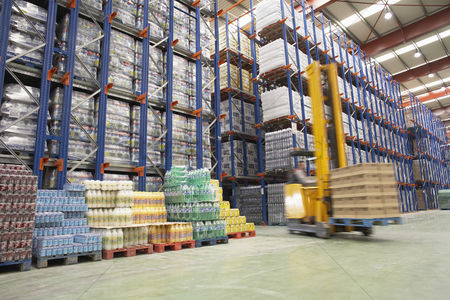 Forklift : Forklift driver in warehouse
