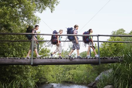 Appearance : Four teenagers  16-17 years  backpacking in forest crossing wooden bridge side view