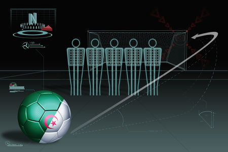 Nationality : Free kick infographic with algeria soccer ball