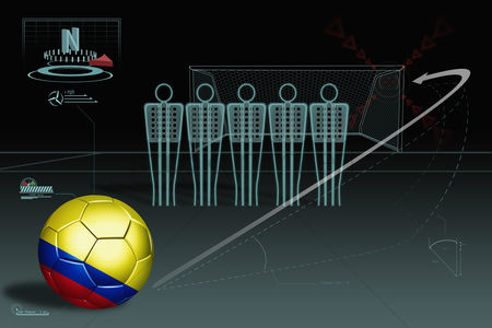 Nationality : Free kick infographic with colombia soccer ball