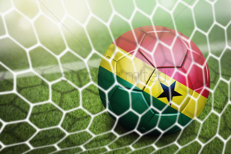 Pitch : Ghana soccer ball in goal net