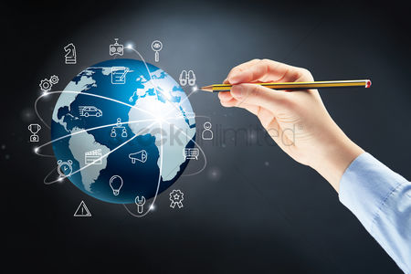 Earth  graphic vector : Hand drawing on a globe with various icon