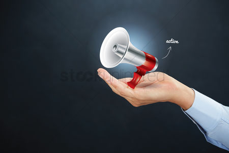 Instruction : Hand holding megaphone