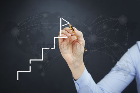Steps : Hand illustrating business success concept