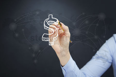 Conceptual : Hand illustrating dollar symbol