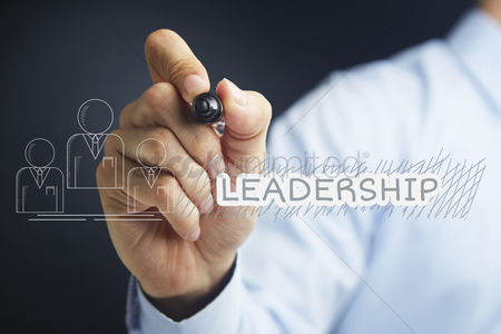 Media : Hand illustrating leadership concept