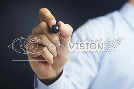 Pupil : Hand illustrating vision concept