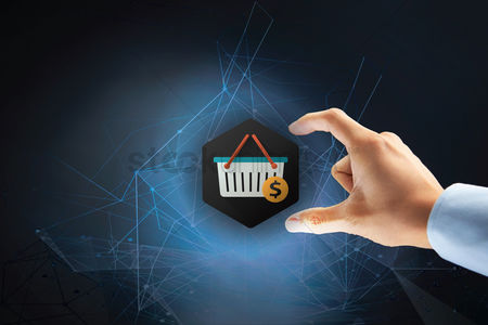 Connections : Hand picking up shopping cart icon