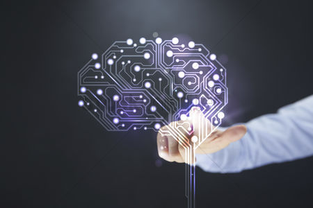 Show : Hand pointing towards brain with circuit board design