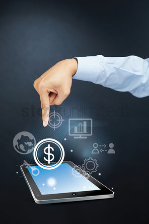 Earth  graphic vector : Hand pointing towards dollar symbol on tablet pc concept