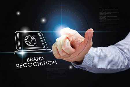 Show : Hand pointing with brand recognition concept