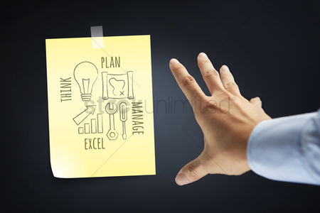 Handdrawn : Hand presenting a business strategy diagram concept