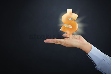 Media : Hand presenting business finance concept