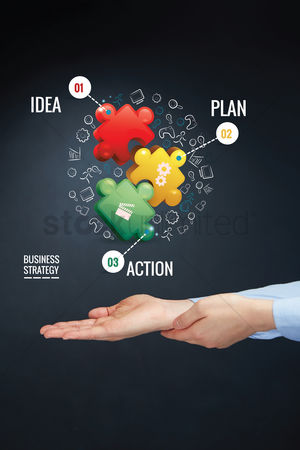 Match : Hand presenting business strategy concept