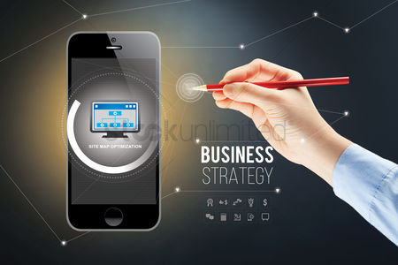 Business : Hand presenting business strategy on smartphone with stylus concept