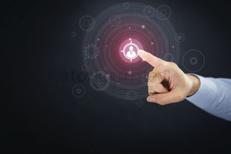 Media : Hand presenting business target concept