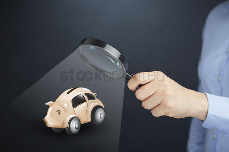 Glossy : Hand presenting car savings concept