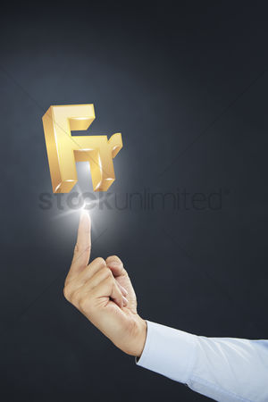 Sparkle : Hand presenting francs currency symbol concept