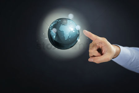 Earth  graphic vector : Hand presenting global business concept