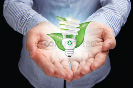 Alert : Hand presenting go green concept